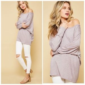 Tops - NEW Purple Boat Neck or Off Shoulder Loose Fit Top